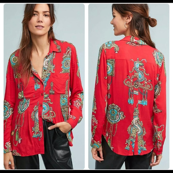 Maeve By Anthro Whimsy Button down Blouse Size 10